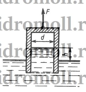Определить абсолютное давление на поверхности жидкости в сосуде и высоту h, если атмосферное давление соответствует hа = 740 мм рт. ст., поддерживающая сила F = 10 Н, вес сосуда G = 2 Н, а его диаметр d = 60 мм. Толщиной стенки сосуда пренебречь. Плотность жидкости ρ = 1000 кг/м3.