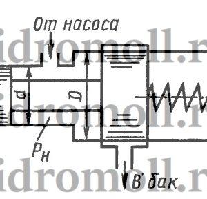 Определить величину предварительного поджатия пружины дифференциального предохранительного клапана (мм), обеспечивающую начало открытия клапана при pн = 0,8 МПа. Диаметры клапана: D = 24 мм, d = 18 мм; жесткость пружины c = 6 Н/мм. Давление справа от большого и слева от малого поршней – атмосферное.
