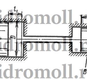 В системе дистанционного гидроуправления необходимо обеспечить ход l2 поршня B равным ходу l1 поршня A, т. е. l1 = l2 = l = 32 мм. Поршень B диаметром d = 20 мм должен действовать на рычаг C с силой F2 = 8 кН. Цилиндры и трубопровод заполнены маслом с модулем упругости K = 1400 МПа. Объем масла, залитого при атмосферном давлении, V = 700 см3. Определить диаметр D поршня A и силу F1, приложенную к поршню A. Упругостью стенки пренебречь.