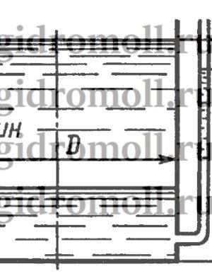 В цилиндрический бак диаметром D = 2 м до уровня H = 1,5 м налиты вода и бензин. Уровень воды в пьезометре ниже уровня бензина на h = 300 мм. Определить вес находящегося в баке бензина, если ρб = 700 кг/м3.